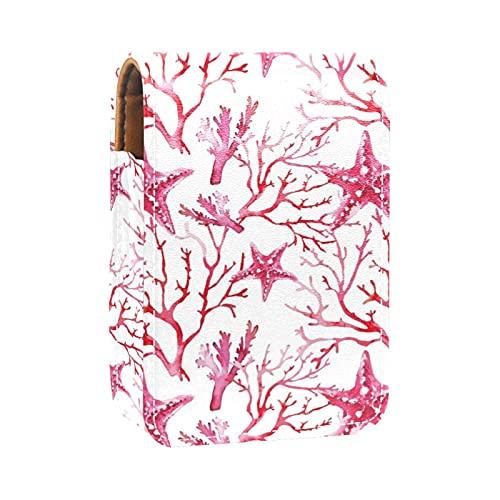Acquerello rosa corallo Stelle Marine pattern Stampe Porta rossetto Mini porta rossetto Borsa organizer con specchio per borsetta Custodia cosmetica da viaggio