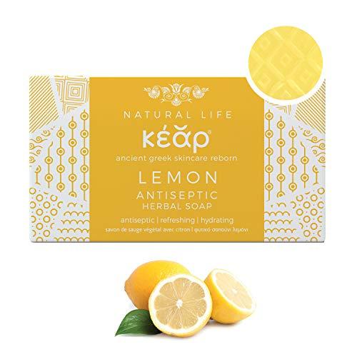 KEAR NATURAL Sapone Antisettico Delicato al Limone e Yucca, Idratante, Disintossicante, Lenitivo, Antiossidante, Pulizia Profonda, Barretta - 100 g