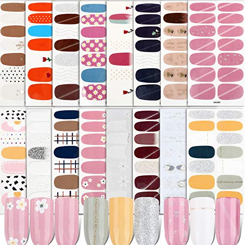FLOFIA 16 Fogli Adesivi Unghie Copertura Completa Smalto Adesivo per Unghie Nail Stickers Full Cover Decalcomanie Autoadesivi Unghie Copertura per Decorazioni Nail Art Unghie Fai da Te