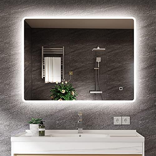 s'bagno 600 x 800 mm Specchio Specchio Illuminazione a LED [Gradazione IP44] Specchio Rettangolare per Montaggio a Parete con Interruttore tattile