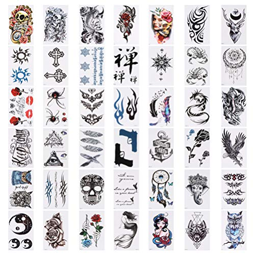 Minkissy 84 Pezzi Grandi Tatuaggi Temporanei Falsi Impermeabili Tatuaggio a Mezzo Braccio Maniche Fiori Totem Tribale Yin Yang Simbolo Adesivi Tatuaggio per Uomo Donna Halloween