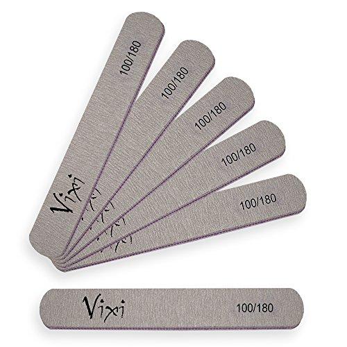 Lime professionali per le unghie By Vixi; grana 100/180, a doppio lato (misura:17.5x2cm) tampone zebrato. Adatte per manicure, pedicure, per unghie naturali, finte e in acrilico (5 x Lima per unghie)