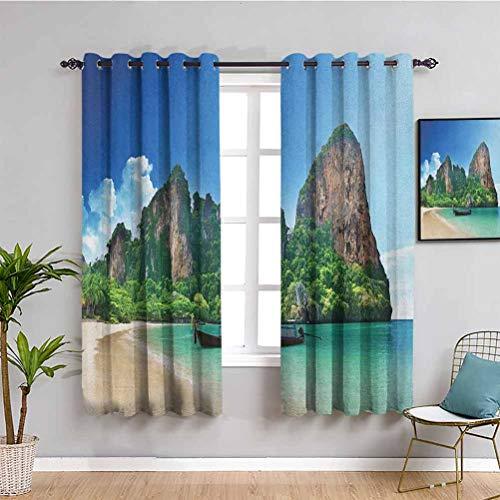 Songdayone - Tenda divertente tropicale, lunghezza 160 cm, motivo railay Beach Krabi Thailandia, piccola barca, cristallo, roccia, scogliera, paesaggio tropicale, 2 pannelli, colore: blu/verde