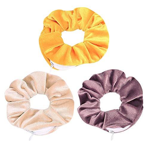 Cravatta per capelli in velluto, per ragazze e donne, con tasca con cerniera, per accessori, piccoli oggetti, chiavi, denaro (confezione da 3)