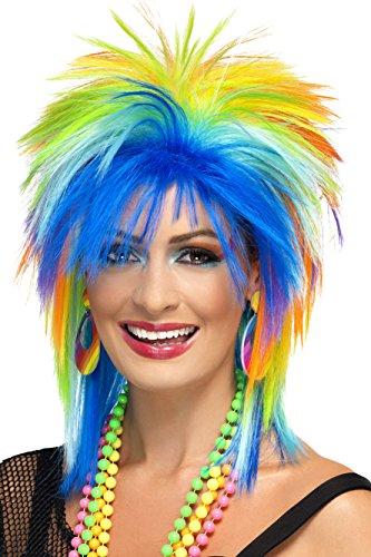 SMIFFYS Parrucca Punk arcobaleno anni 80, multicolore
