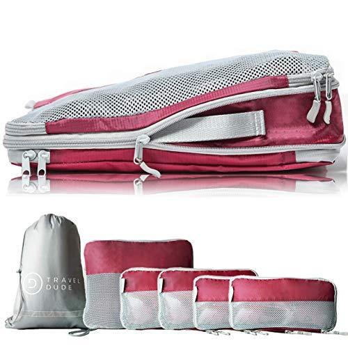 TRAVEL DUDE Organizer Valigie   Cubi con Compressione   Set da Viaggio per zaini o bagagli a mano   Organizer Valigia (rosso vino / 7 pezzi)