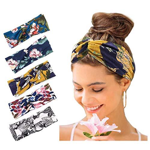Zoestar, Fasce per capelli da yoga, stile vintage e stravagante, con incrocio, elastiche, per corsa, da donna (confezione da 5)
