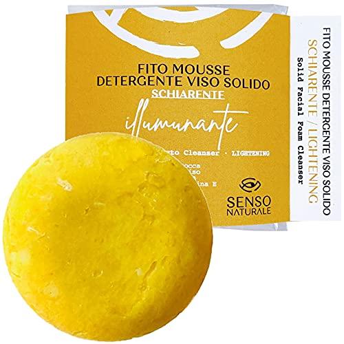Senso Naturale mousse detergente solido SCHIARENTE - curcuma, olio di albicocca, patchouli - struccante viso delicato pelle sensibile - Vegano - equivale a 300 ml liquido