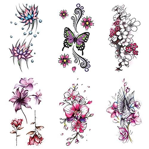 YLGG Adesivi per Tatuaggi temporanei alla Moda Orchidea Farfalla, Adatti per Uomini e Donne, Rimovibili