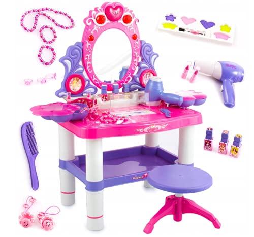 Kinderplay Toalette con Specchio per Bambina - Asciugacapelli Funziona Come se Fosse Reale, Toilette Trucco con Sgabello Bambina, con Accessori, Luce, Suono, KP2798