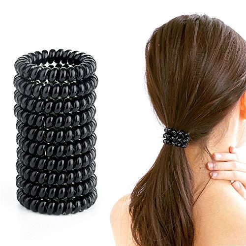Wodasi 10 Pezzi Elastici per Capelli Spirale, Elastici Capelli Spirale, Spirale Elastici Set Elastici per Cappelli, Elastico per Capelli a Spirale, Senza Tracce, Elastica, Traceless Hair Ring, Nero