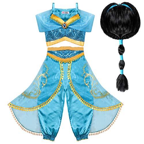 Tacobear Vestito Jasmine Bambina con Parrucca Principessa Jasmine Costume Ragazze Principessa Abiti Partito per Halloween Cosplay Festa (4-5 Anni)