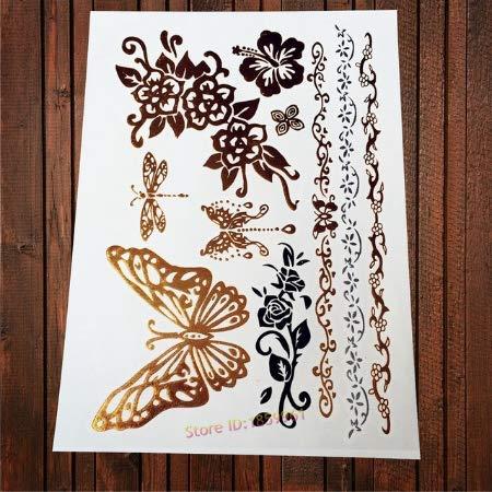 Tatuaggi in Oro Piccolo Modello Carino Tatuaggio a Portata di Mano Tatuaggi con Dita Cuore Dolphin Diamond Melody Key Libellula di Bowknot