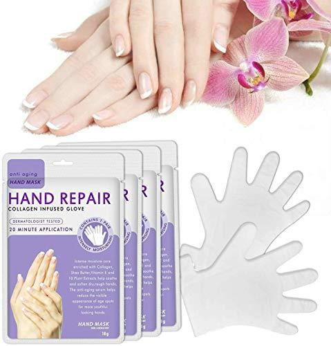 Guanti idratanti per le mani 3 paia, riparazione della pelle delle mani Rinnova la maschera con collagene infuso, Vitamine Estratti vegetali naturali per le mani secche
