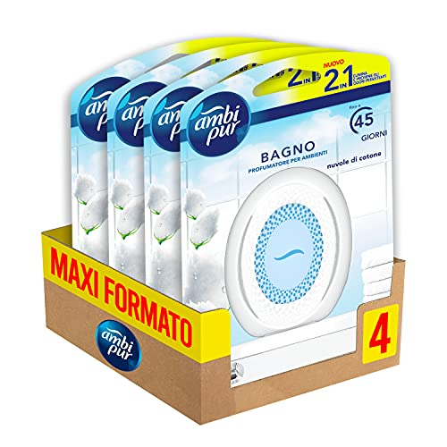 Ambi Pur Bagno Profumatore per Ambienti, 4 Confezioni, Nuvole di Cotone, Maxi Formato, Con Tecnologia Elimina Odori, fino a 45 Giorni