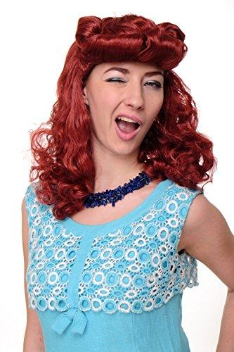 WIG ME UP - Parrucca Carnevale da Donna Scarlatto Rockabilly Anni 50 Rosso Ciuffo WIG018-P135