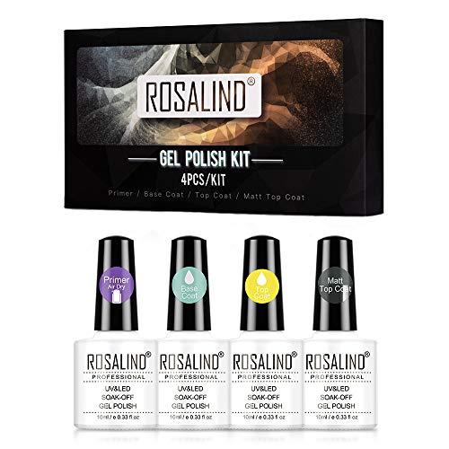ROSALIND Base e Top Coat Semipermanente con Primer e Top Coat Opaco per Smalti Semipermanenti in Gel UV LED Gel Unghie Pacchetto Conveniente Nail Art