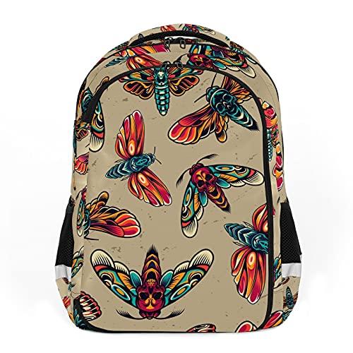 Zaino per bambini Unisex Cartoon Studenti Schoolbag Impermeabile Preppy Pack Tatuaggi Colorful Skull Libellula