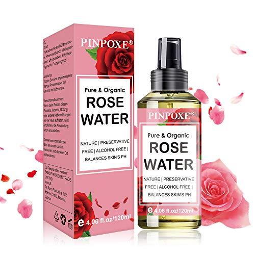 Organic Acqua di Rosa, Tonico Viso Acqua di Rose, Tonico per Viso Concentrato all'Acqua di Rose Naturale – Calma il Rossore, Rassoda ed Equilibra la Pelle Grassa, Leggermente Profumato, 120ml