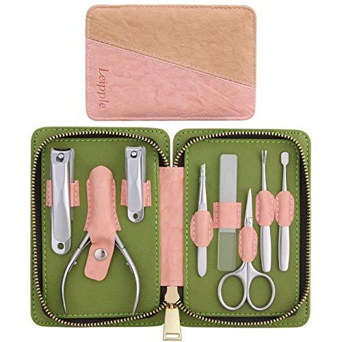 Tagliaunghie Set Professionale - Grooming Kit Strumenti per Manicure e Pedicure 8pcs con Lussuosa Custodia da Viaggio in Pelle