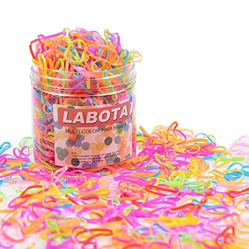 LABOTA 1500 Pezzi Multi Colore elastici per capelli Fasce con Scatola Gratis per Bambini Ragazze