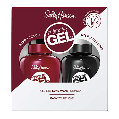 Sally Hansen, Set Smalti Miracle Gel 2 in 1, Smalto Gel Senza Lampada UV e Top Coat, Effetto Manicure Professionale, 601 Dig Fig