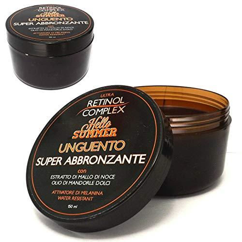 Retinol Complex - Unguento super abbronzante con mallo di noce ed olio di mandorle dolci, attivatore di melanina e resistente all'acqua (150ml)