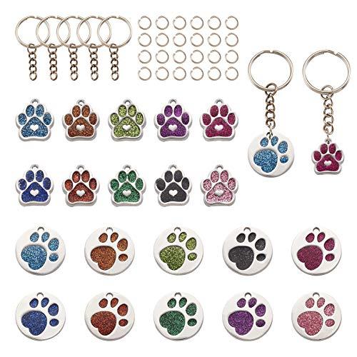 PandaHall - 20 ciondoli a forma di zampa di cane e gatto, con 20 anelli di salto e 20 portachiavi divisi per fai da te collane, bracciali, gioielli