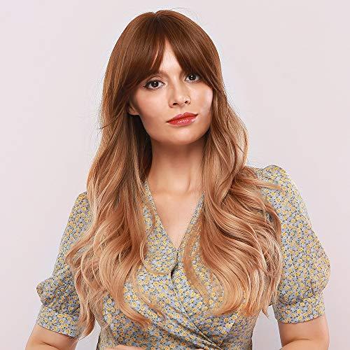 Mostfar parrucca bionda rossastra ombre con radici scure, naturale lungo corpo ondulato parrucca con frangetta, parrucca sintetica di ricambio per le donne 26 pollici