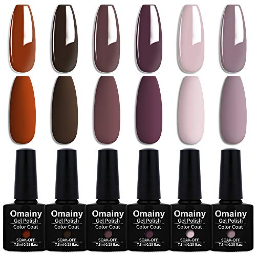 Omainy Smalto Semipermente per Unghie in Gel UV LED 6pzs Colori e un Top Coat Matto Kit per Manicure Smalti Gel per Unghie Soak Off (008)