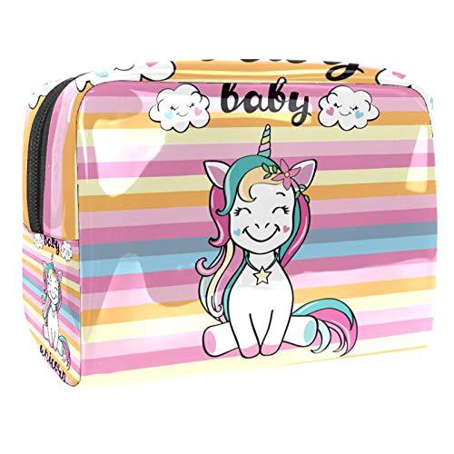 Beauty Case da Viaggio Borsa da Viaggio Unicorno sveglio del bambino piccolo Impermeabile Cosmetici Trousse Toiletry Bag Sacchetti di Trucco per Uomini e Donne 18.5x7.5x13cm