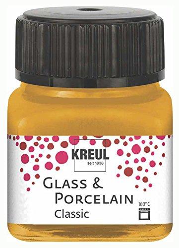 Kreul Glass & Porcelain Classic Gold metallizzato 16247 - Colore brillante per vetro e porcellana a base d'acqua, ad asciugatura rapida, coprente