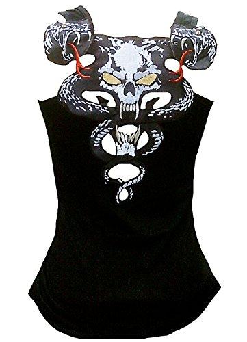 Rockabilly Punk Rock Baby - Canottiera da donna con teschio, motivo tatuaggio Nero L