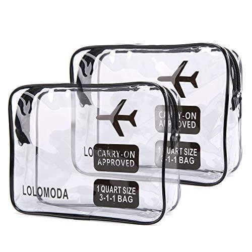 Beauty Case da Viaggio 2Pcs, Cosmetici Trousse Trasparente, Kit da Aereo per Liquidi, Sacchetti di Trucco PVC per Uomini e Donne (Nero)