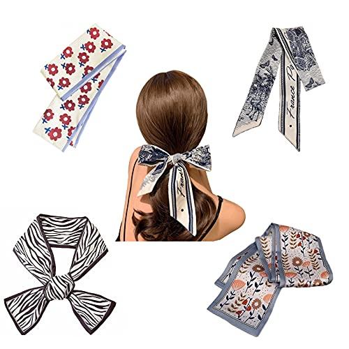 4 Pezzi Satin Silk Elastic Hair Bands,Cravatte per Capelli Chiffon per Donna,Cravatte Sciarpa con Motivo a Fiori per Coda di Cavallo, Accessori Per Capelli Vintage per le Donne Ragazze