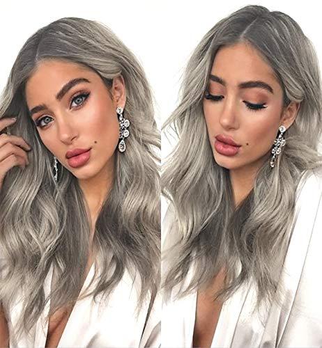 VEBONNY Ombre parrucca sintetica ondulata ondulata con radici scure in argento biondo cenere, parrucca frontale in pizzo da donna con radici scure VEBONNY-032