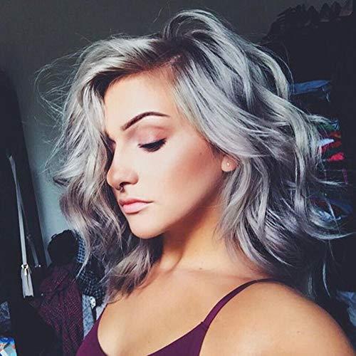 ColorfulPanda Parrucca sintetica con capelli ondulati, ondulati, colore grigio argento, effetto naturale, resistente al calore, per cosplay o uso quotidiano
