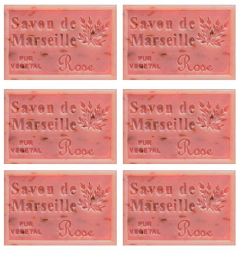 Set 6 pz Sapone di Marsiglia 125 gr. all 'olio essenziale di rosa