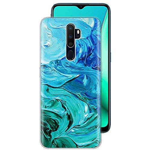ZhuoFan Custodia OPPO A5 / A9 2020 / A11x, Sottile Clear Trasparente Back Bumper Cover Silicone con Print Pattern Antiurto Shockproof Protettiva Phone Case per OPPO A5 / A9 2020 / A11x Smartphone, 26