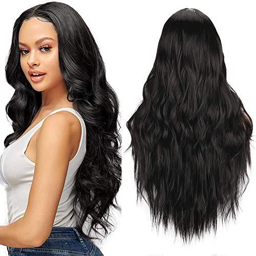 YEESHEDO Parrucca donna nera lunga ondulata, parrucche capelli naturale lunghi ricci ondulati capelli nero wig 26 pollici