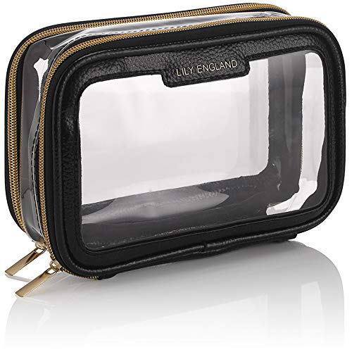 Organizer Porta Trucchi da Viaggio Trasparente Lily England – Piccolo Beauty Case Borsa da Toilette Portatile - Nero & Oro
