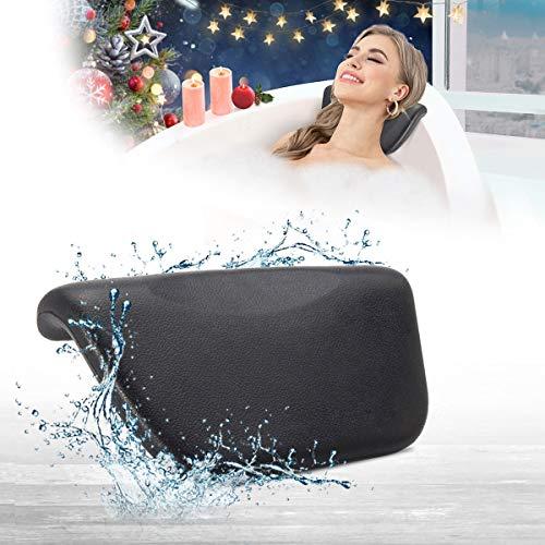 Essort Spa Bath Pillow, Cuscino Vasca da Bagno PU da Bagno Cuscino Poggiatesta Ergonomico con Ventose Antiscivolo, Home Spa per Testa, Collo, Schiena e Spalle, 27 x 14 x 5 cm, Nero