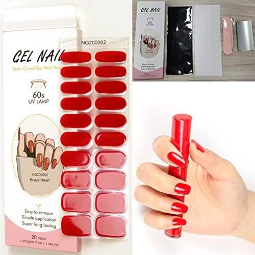 Adesivi per unghie in gel impermeabili, 20 Adesivi in strisce di smalto per unghie rosso, Adesivo per unghie in gel autoadesivo, Colore Classico Smalto Unghie con strumenti per unghie, per donne