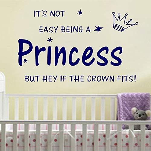 Adesivi murali per la decorazione del soggiorno, arte del tatuaggio da parete, corona principessa Kids Nursery Gilr fai da te 70x45 cm