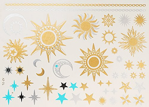 Sole Luna Stelle Tatuaggi metallici Tatuaggi in flashTemporanei 290 oro d'argento Adesivi per corpo