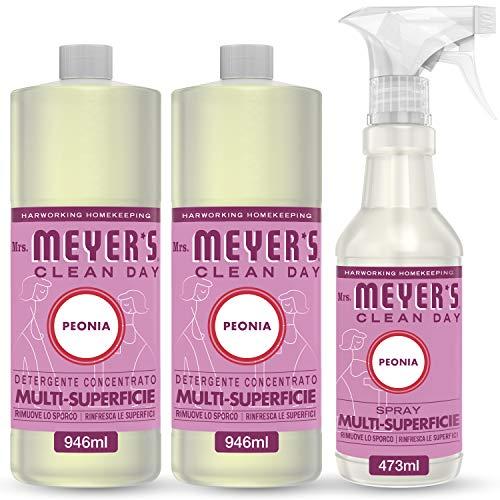 Mrs Meyer's Clean Day - 1 Spray Multisuperficie + 2 Detergente Concentrato Multisuperficie - Fragranza Peonia - Prodotti creati con Oli essenziali - 1 x 473 ml + 2 x 946 ml - Set Pulito