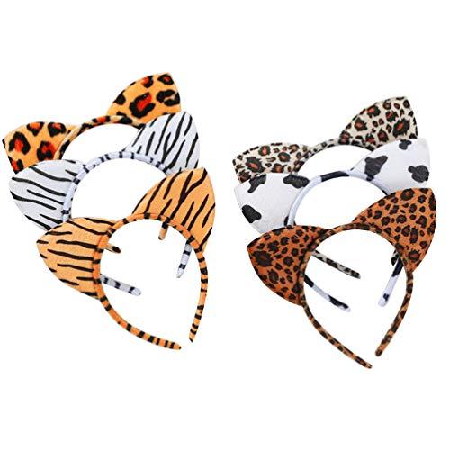 Beaupretty gatto orecchio fascia capelli cerchio copricapo fascia per capelli animale leopardo copricapo per festa di halloween, 6 pezzi (colore misto)