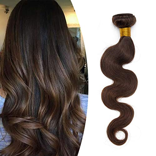 Elailite Extension Capelli Veri Tessitura Una Ciocca Matassa 100g Unprocessed Virgin Human Hair Ricci Mossi Naturali 55cm #2 Marrone Scuro