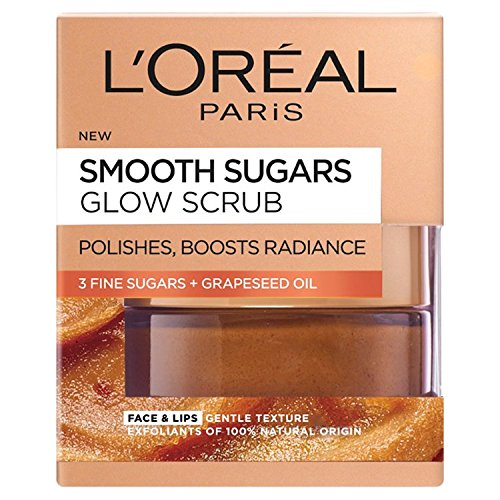 L'Oreal Paris Smooth Sugar Nourish Scrub viso e labbra al cacao, 50 ml