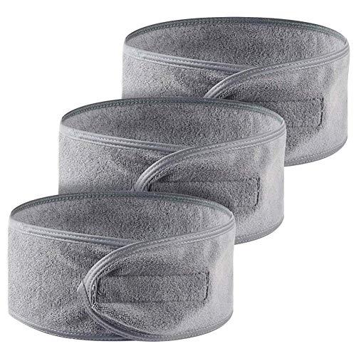 Fascia per Capelli per Trucco, Queta Fascia per Capelli Cosmetici Terry, Fascia per Capelli Regolabile con Velcro 3 Pezzi (Grigio)